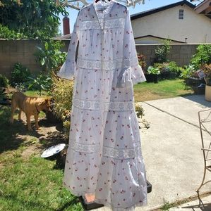 Vintage David Brown zip front cotton gown, M